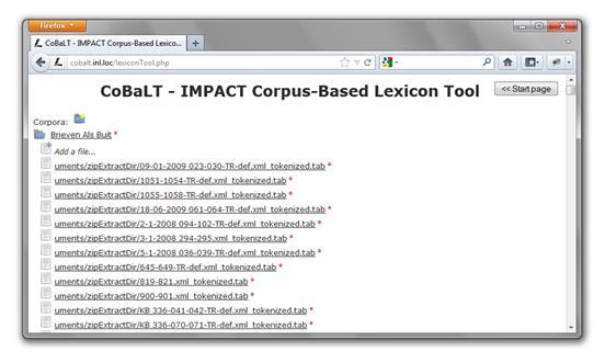Screenshot of CoBaLT – corpora screen