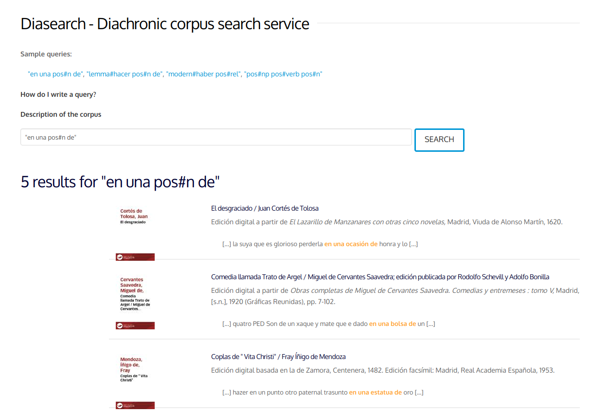 Diasearch - Diachronic corpus search service
